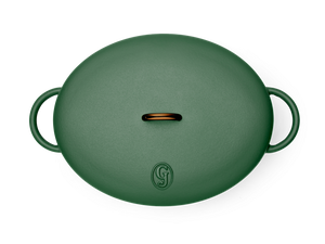 Enameled cast-iron Dutch oven in broccoli green - top down view with lid