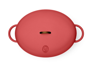 Enameled cast-iron Dutch oven in marinara red - top down view with lid