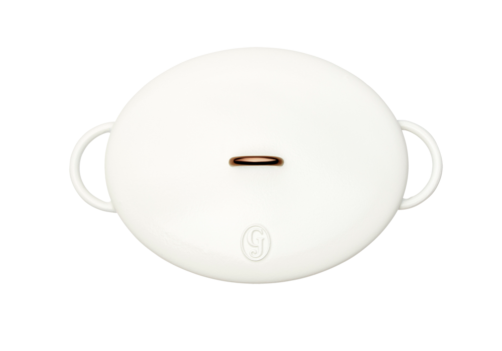 Enameled cast-iron Dutch oven in salt white - top down view with lid