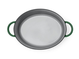 Enameled cast-iron Dutch oven in broccoli green - top down view no lid