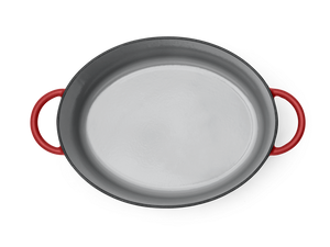 Enameled cast-iron Dutch oven in marinara red - top down view no lid