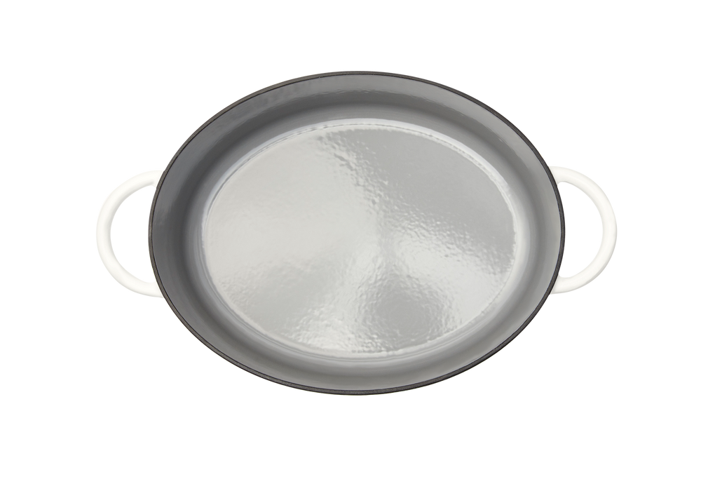 Enameled cast-iron Dutch oven in salt white - top down view no lid