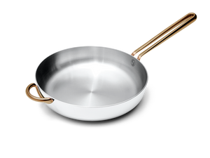 Deep Cut stainless steel saute pan - angled view no lid