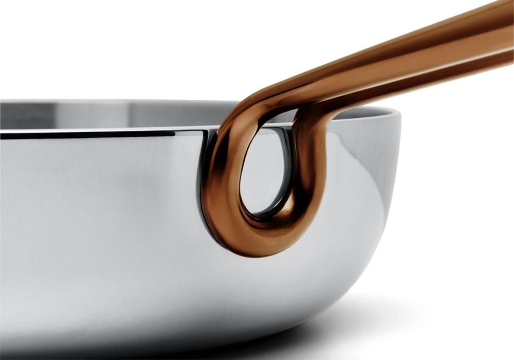 Deep Cut stainless steel saute pan - handle close-up