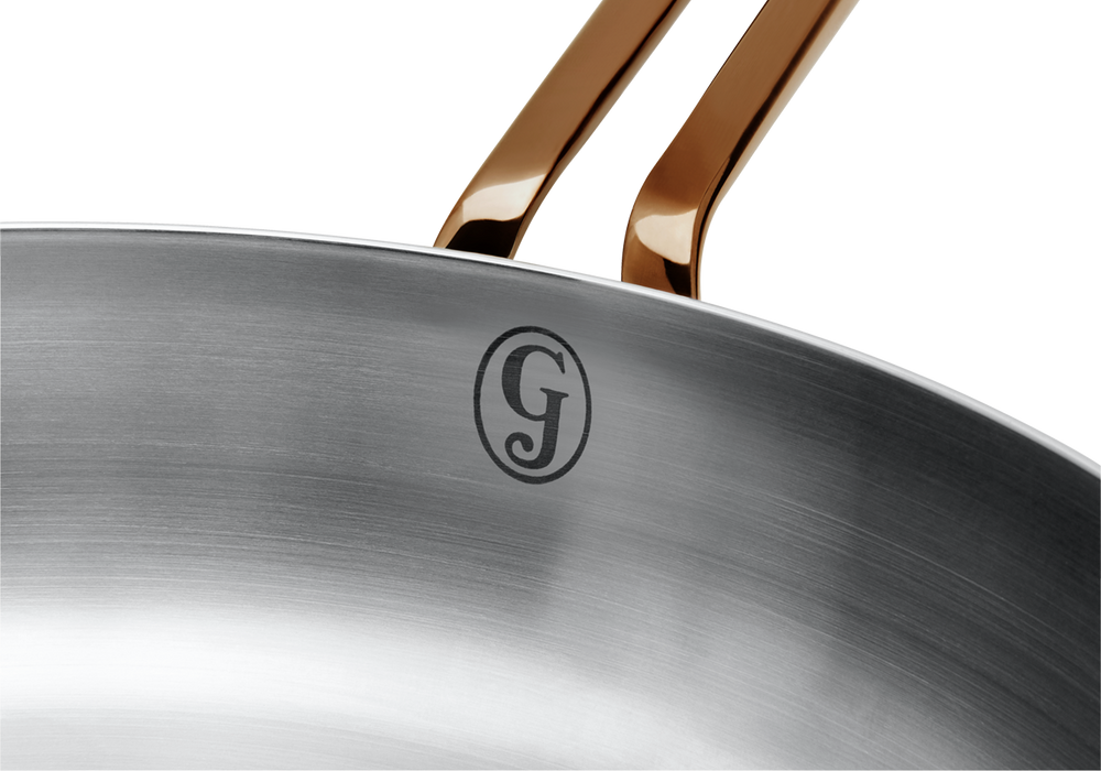 Deep Cut stainless steel saute pan - logo close-up