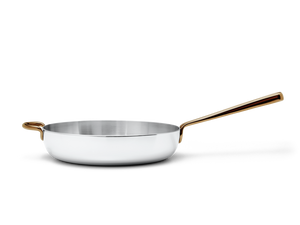 Deep Cut stainless steel saute pan - side view no lid