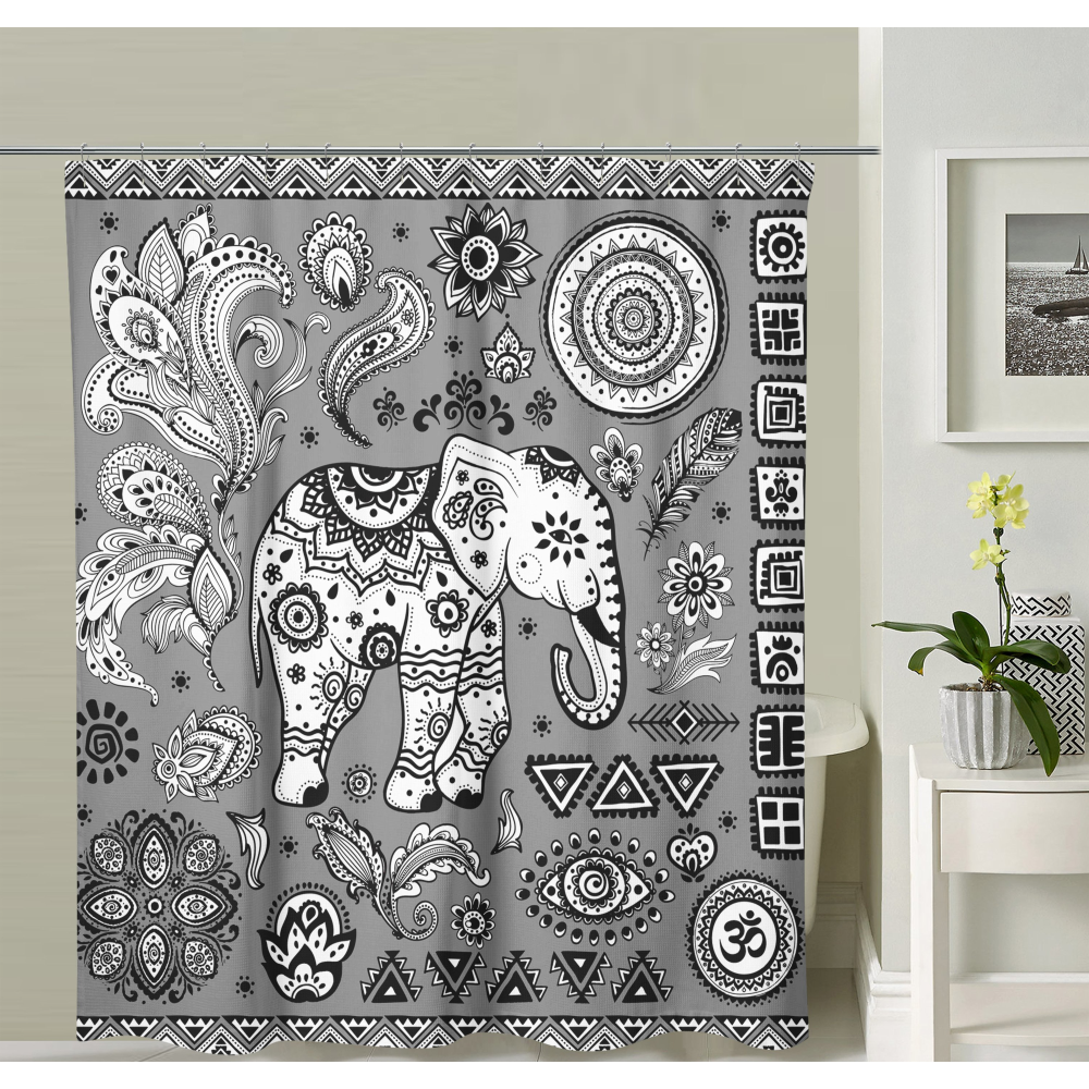 Black and White Elephant Shower Curtain