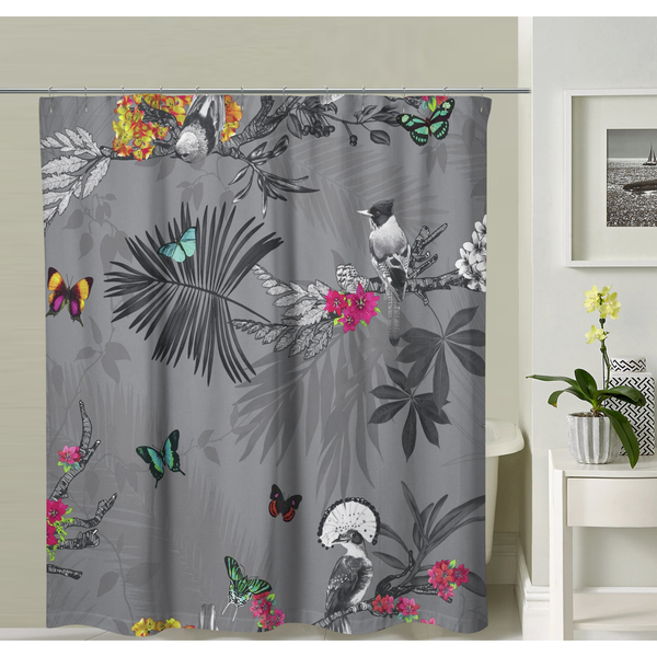 Butterflies Dark Gray Shower Curtain
