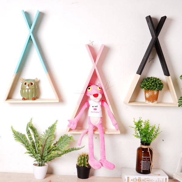 Wooden Triangle Shelf