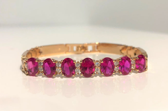 Gold Plated Ruby Bracelet