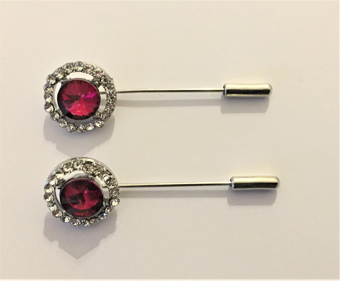 Red Crystal Hijab Pins