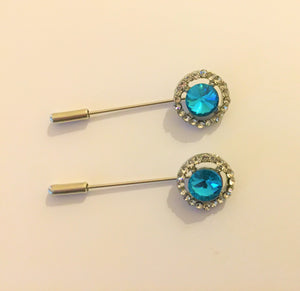 Aqua Blue Crystal Hijab Pins