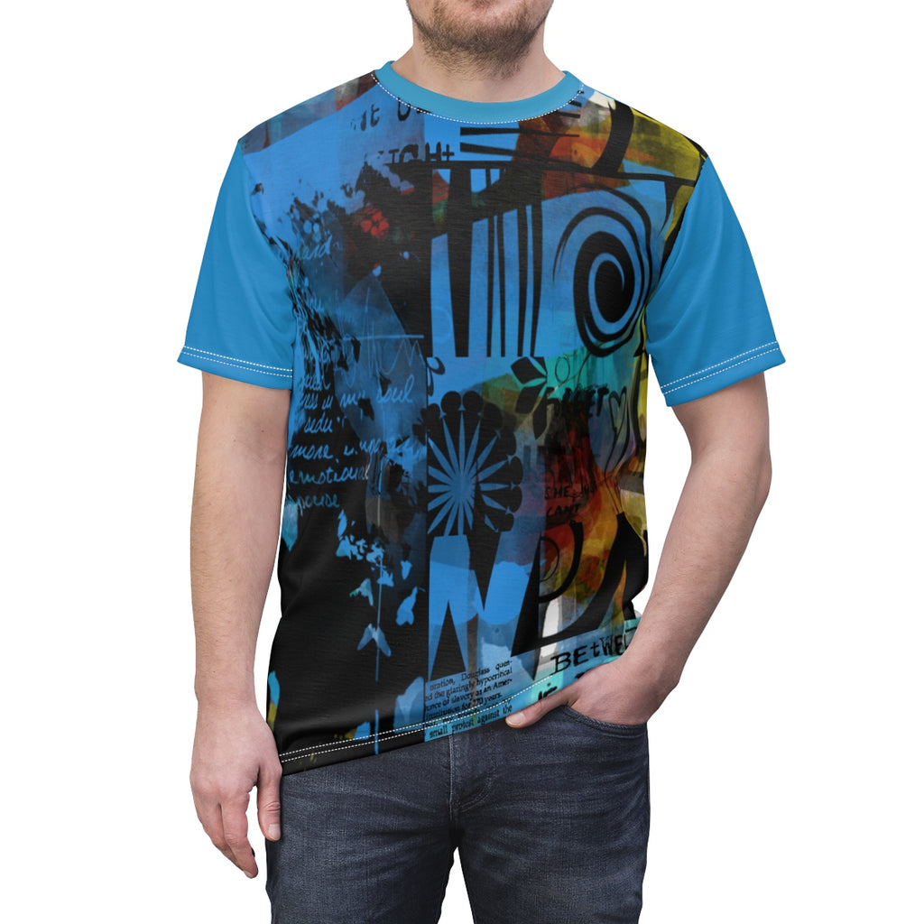 Night out Casual Handmade Blue Abstract Custom Austin Men's T-Shirt - mysterynb