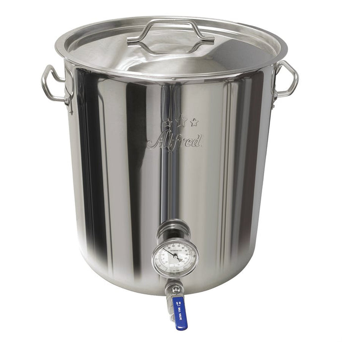 15 GAL Heavy Duty Stainless Steel 201 Kettle With Valve & Thermometer