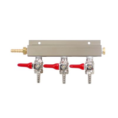 3 Way Gas Manifold W/Shut off Valve 1/4