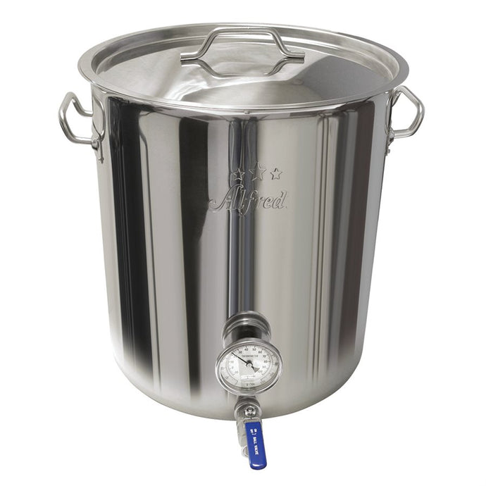 10.5 GAL SS 201 Kettle W/Ball Valve & Thermometer