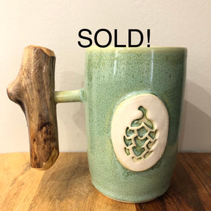 Wood Handle Beer Stein - Local Handmade Pottery 500ml
