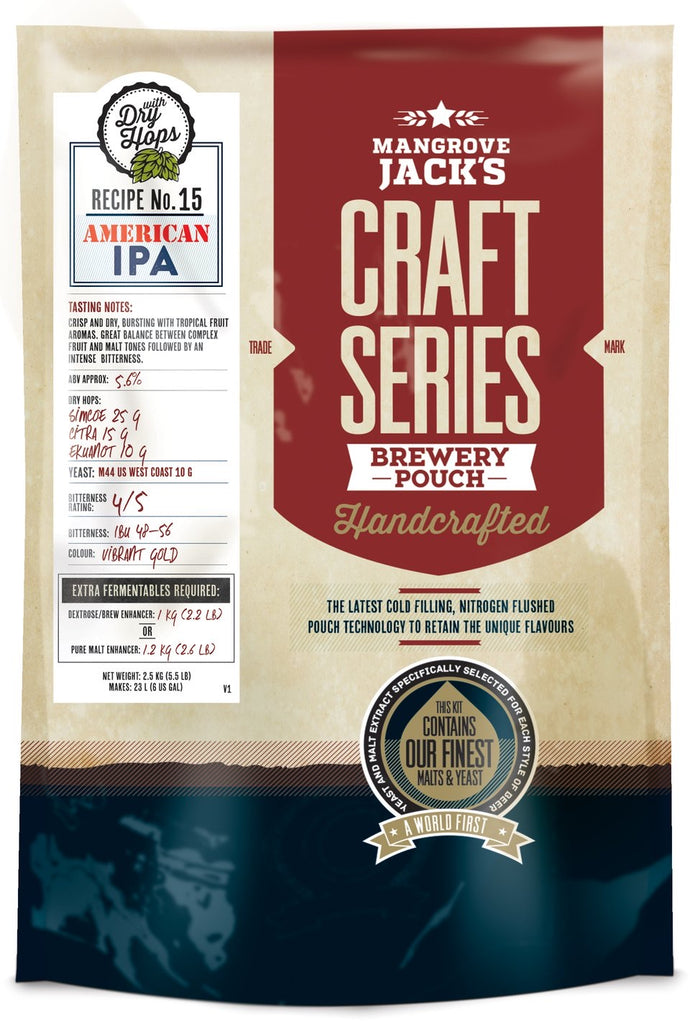 Mangrove Jack's Australian Brewer's Craft Series American IPA w Hops  Kit - Extract (Makes 23 Litres)