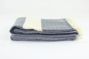 Diamond Cotton Blanket - Navy