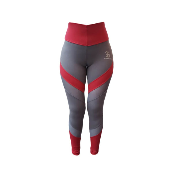 Leggins Power - standard / plomo/rojo