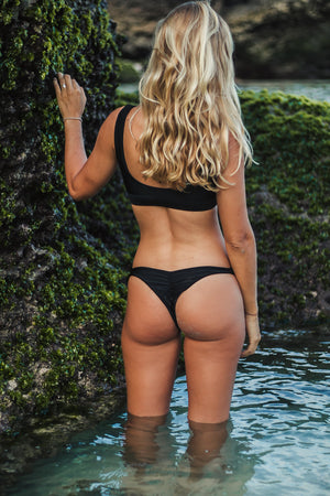 bikini bottoms black cheeky scrunch bottoms bali tide pools
