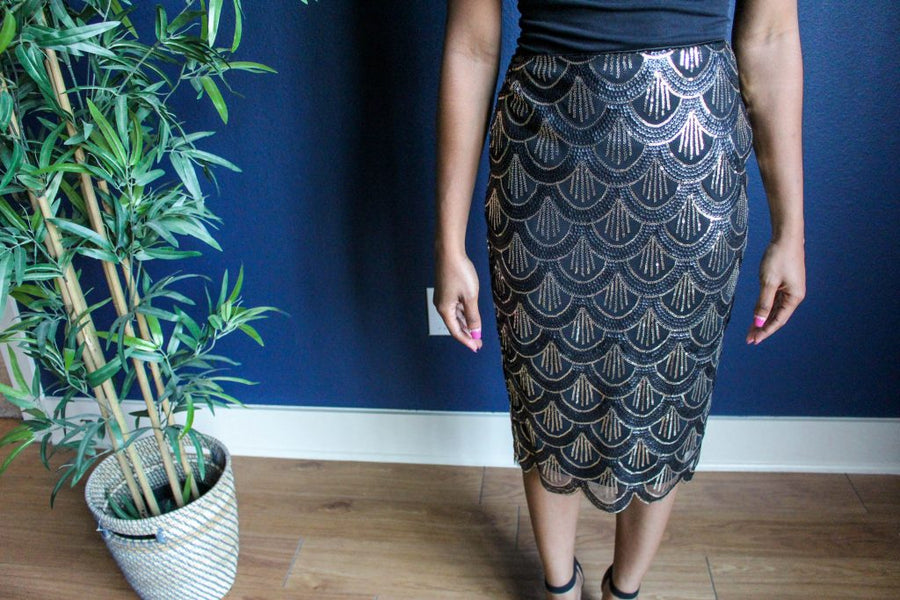 Mia Scallop Midi-Skirt