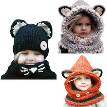 Load image into Gallery viewer, Handmade Knitted Children Windproof Hat and Scarf