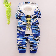 Load image into Gallery viewer, Blue Camo - 3 Pieces Clothing Set (Coat, T-Shirt, Pants)