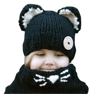 Handmade Knitted Children Windproof Hat and Scarf