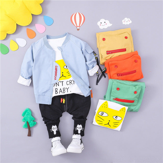 Don't Cry - 3 Pieces Clothing Set (Coat, T-Shirt, Pants)
