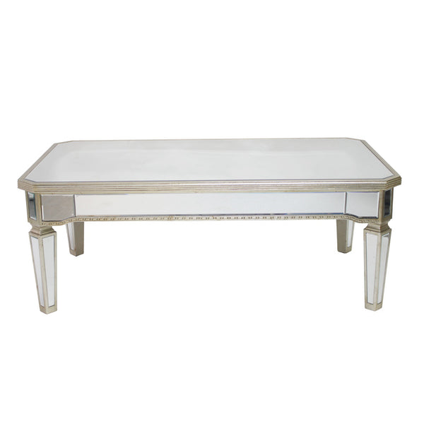 Mirrored Rectangular Coffee Table Antique Ribbed
