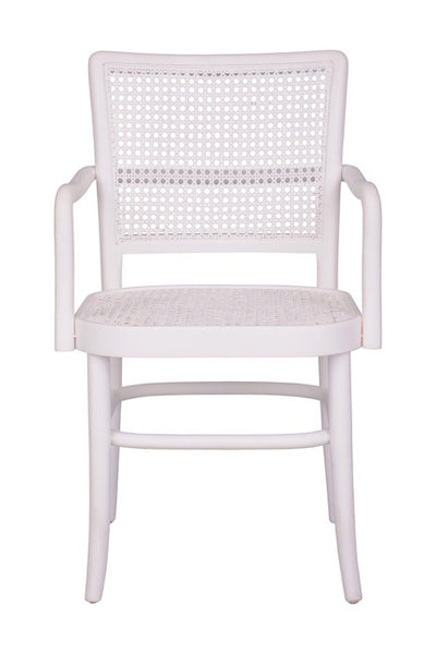 Palm Armed Rattan Dining Chair White