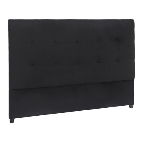 Regent Button Tufted Queen Bedhead - Black Linen