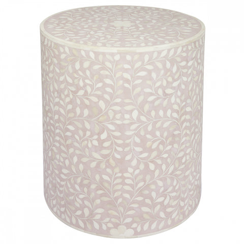 Mia Bone Inlay Side Table - Blush - Casa Divano