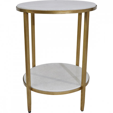 Chloe Marble Side Table - Gold - Casa Divano