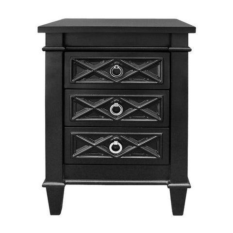 Plantation Bedside Table - Small Black - Casa Divano
