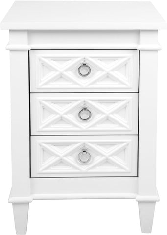 Plantation Bedside Table - Small White - Casa Divano