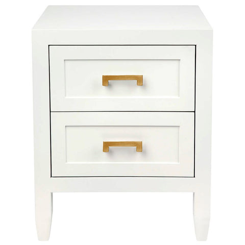 Soloman Bedside Table - Small White - Casa Divano