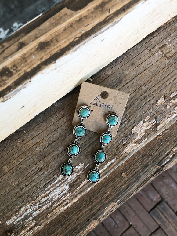 Turquoise Four Stone Dangles