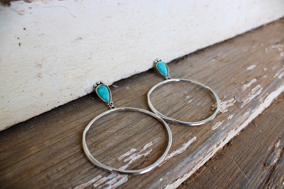 Turquoise Stone Silver Hoops
