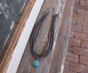 Layered Turquoise Circle Necklace