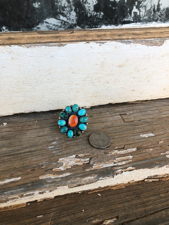 Stamped Spiny / Turquoise Ring - Size 9