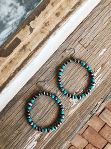 Silver / Turquoise Navajo Hoops