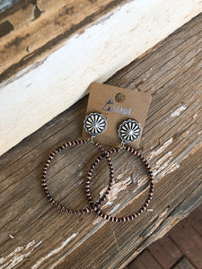 Copper Concho Navajo Hoops