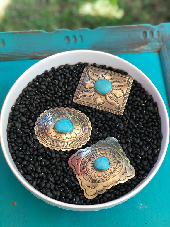 Authentic Turquoise / Silver Belt Buckles