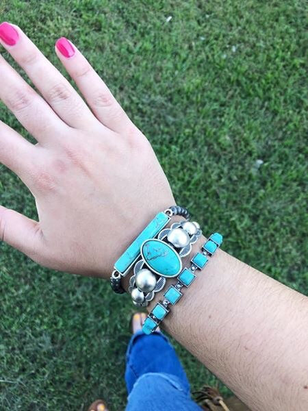 Silver / Turquoise Cuff - Middle Cuff