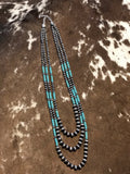 Turquoise / Silver Pearl Layering Necklace