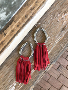 Red Fringe Earrings