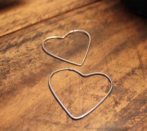 Sterling Silver Heart Hoops