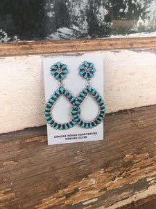 Stamped Turquoise Teardrops